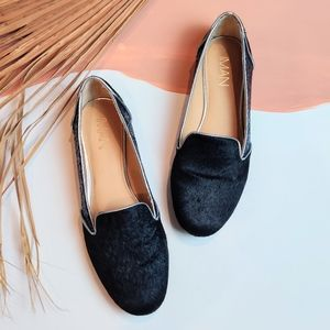 Midnight Blue Sequin Calf Hair Leather Loafer Flat